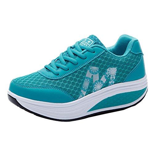 Señoras Atlético Zapatos Chicas Zapatillas Mujer Aptitud Sacudir Zapatos Azul