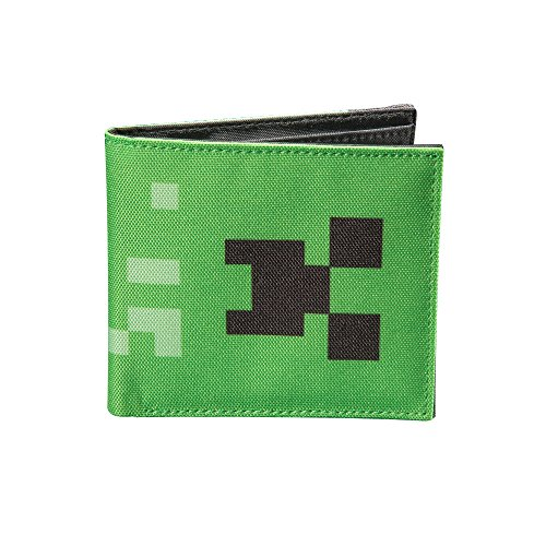 JINX Minecraft Creeper Face Nylon Bi-Fold Wallet, Green, One Size -