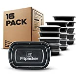 Fitpacker Meal Prep Containers - USA Quality and Safety - BPA Free Food Storage, Microwaveable, Dishwasher and Freezer Safe Bento Style Lunch Boxes for Portion Control (16 pack, One Compartment, 28oz)