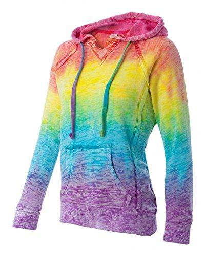 Courtney Burnout V-Notch Sweatshirt - Rainbow Stripe - 2X-Large