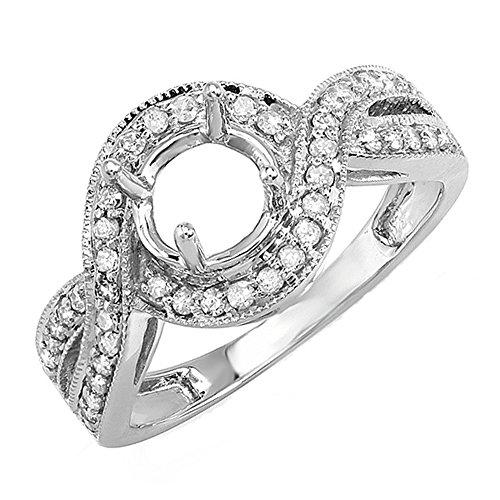 0.40 Carat (Ctw) 14k White Gold Round Diamond Semi Mount Bridal Engagement Ring (No Center Stone) (Size (Diamond Bridal Engagement Semi Mount)