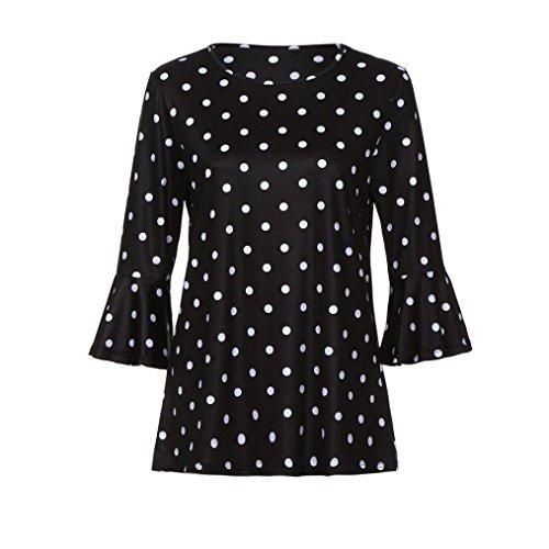 Neck Femme Quarts Tops JIANGfu Manches Chemisier O T T Chemisier Femme Shirt Mode Trois Point Douille imprim Longues Noir Chemisier Shirt Femmes qwq8vxZ
