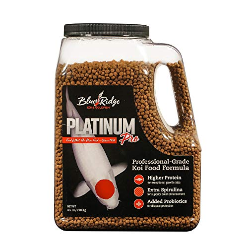 Blue Ridge Fish Food Pellets [4.5lb] Koi and Goldfish Platinum Professional Formula, Floating Large Pellet, Balanced Diet (Best Food For Goldfish Growth)