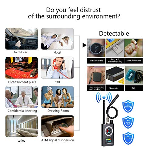 Professional Wireless RF Signal Detector, Sensico Anti Spy Camera Detector  Set, K18 Multi-Functional GSM Device Finder, Wireless Audio Bug Hidden