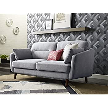 "Elle Decor 73"" Mid-Century Modern Chloe Sofa in Light Gray"