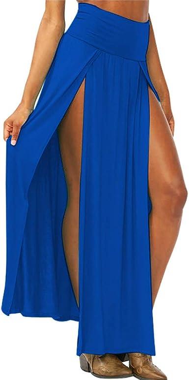 FYBA - Falda de cintura alta para mujer, color liso, con abertura ...