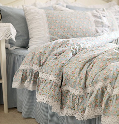Idyllic Life Ruffle Frill and Flower 100% Cotton Gingham Bed Skirt Blue Duvet Cover Set ( 4pc King ()