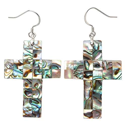Hiddleston 925 Sterling Silver Abalone Shell Bohemian Drop Dangle Cross Crucifix Earrings Jewelry For Birdesmaid