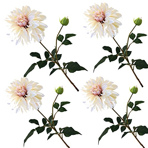 TheBridesBouquet.com Blush Bridal Pink Dahlia Stem Silk Wedding Flower Set of 4 stems (Dahlia Blush Pink)