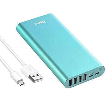 BONAI Bateria Externa 23800mAh Power Bank Cargador portátil con Salida de 4 USB para Movil - Verde