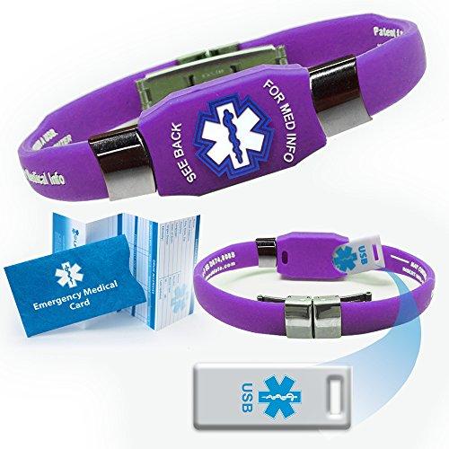 UPC 794168704091, Waterproof ELITE USB purple silicone medical alert ID bracelet with 2 GB USB