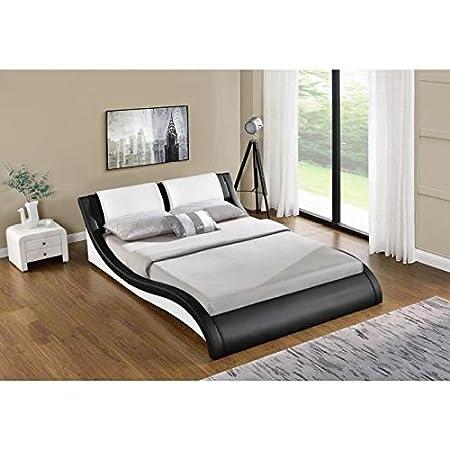 Générique Wave Bed 160 x 200 cm Bed Frame - Black and White Adult ...