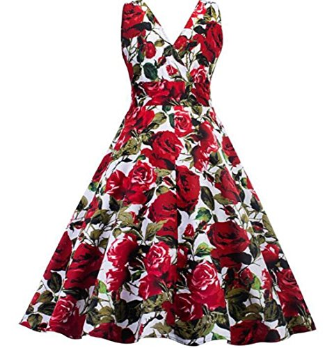 Retro Profundo 2017 Pettiskirt XIAOXIAO Color Rojo de Sexy tamaño Noche explosiones V HEFEI Vestido L Rosa Print Vestido fz1qEf