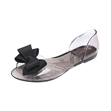 78eb14deaff1 JJLIKER Women Summer PVC Transparent Ribbon Bow Sandals Jelly D Orsay Flats  Peep Toe Slip