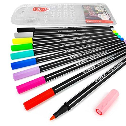(Stabilo - Pen 68 - Fibre Tip Felt Pens - Limited Black Barrel Edition - Wallet of 10)