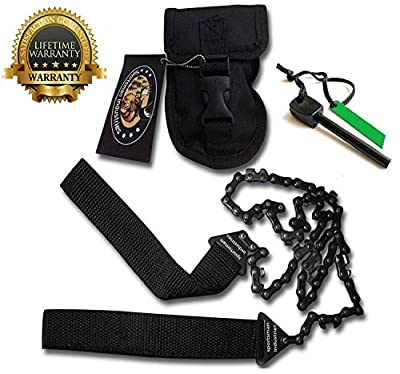 Sportsman Pocket Chainsaw 36 Inch Long Chain & FREE Fire Starter Best Compact Folding Hand Saw Tool for Survival Gear, Camping, Hunting, Tree Cutting or Emergency Kit. Replaces Your Pruning & Pole Saw from Sportsman Industries