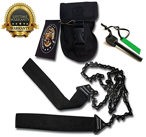 Sportsman Industries Pocket Chainsaw 36 Inch Long Chain & Free Fire Starter Best Compact Folding Hand Tool for Survival Gear Camping, Hunting, Tree Cutting Or Emergency Kit. Replaces Your Pruning, & Pole Saw by Sportsman Industries