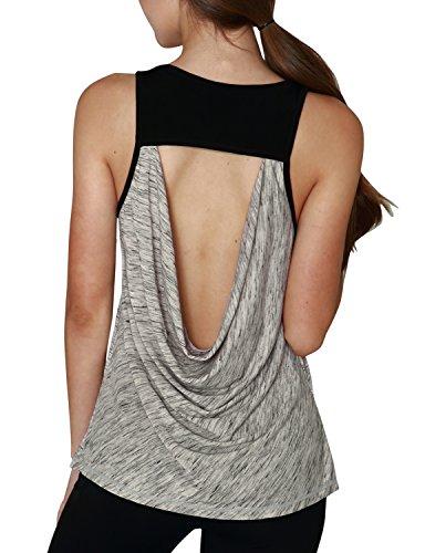 Yogareflex Women's Super Soft Knit Cowl Back Workout Sports Yoga Tank Tops (Reversible Tankini Top)