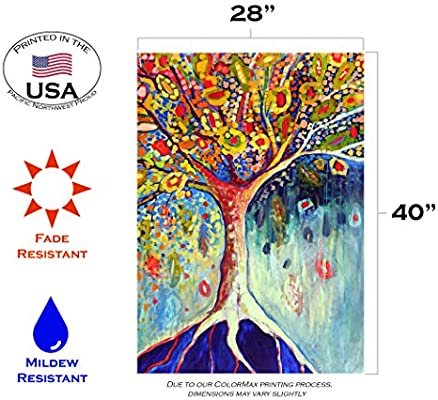 Amazon Com Toland Home Garden Tree Of Life 28 X 40 Inch Decorative Colorful Fall Multicolor Earth Root House Flag Outdoor Flags Garden Outdoor