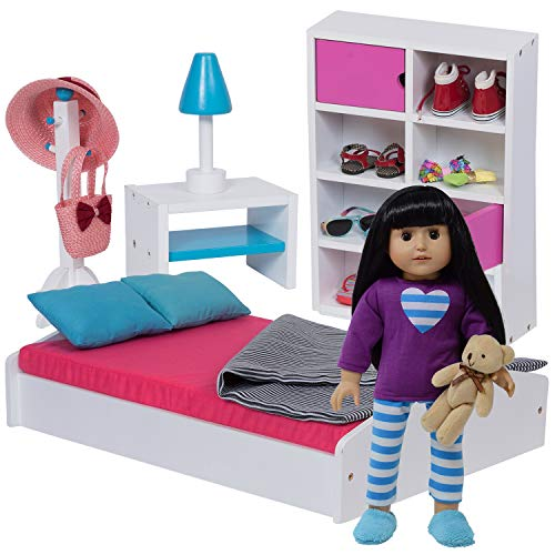 "The New York Doll Collection 18"" Doll Bed & Bedroom Set for..."