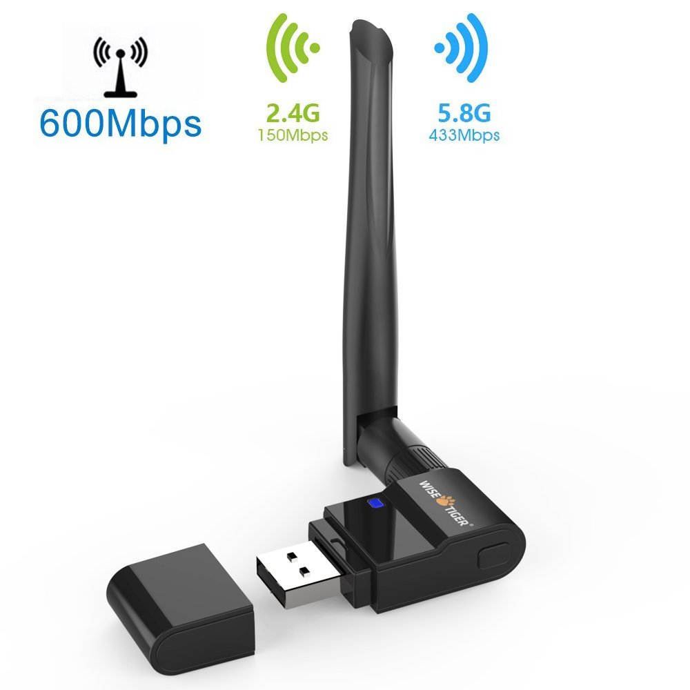 Wifi Adapter AC600Mbps Dual Band Wireless Usb Adapter 2.4GHz/5.8GHz Wifi Dongle Long Ranger External Antenna Support Windows 10/8/7/Xp/Vista Mac OS X 10.6-10.13 - Fast Install,Only 3 Minutes