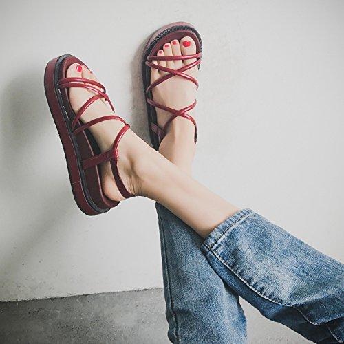 GAOLIM Bizcocho Gruesas Sandalias Mujer En Verano Y Las Tiras Transversales Y Versátil De Los Estudiantes Detenidos Durante El Rocío-Toe Zapatos Word Vino rojo