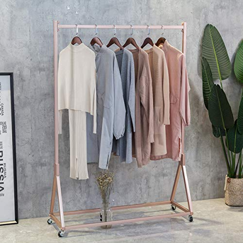 FURVOKIA Modern Simple Heavy Duty Metal Rolling Garment Rack with Wheel,Retail Display Clothing Rack,Wrought Iron Single Rod Floor-Standing Hangers Clothes Shelves (Rose Gold Square Tube, 47.2 L) from FURVOKIA