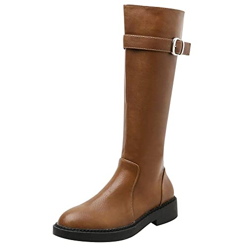 Jamron Mujer Occidental de Moda Botas de Equitación Elegante Medio Botas Impermeable Cuero de Imitación Botas con Cremallera: Amazon.es: Zapatos y ...