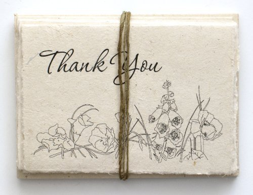 Handmade Seeded Plantable Thank You Cards Set of 6 Wildflowers ()