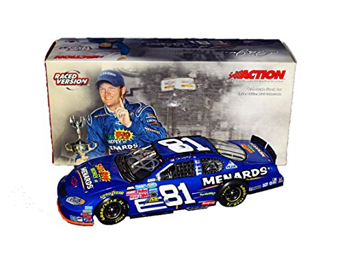 AUTOGRAPHED 2004 Dale Earnhardt Jr. #81 Menards Racing BRISTOL RACE WIN (Raced Version) Busch Series Rare Signed Action Collectible 1/24 NASCAR Diecast Car with COA (1 of only 8,808 produced!)