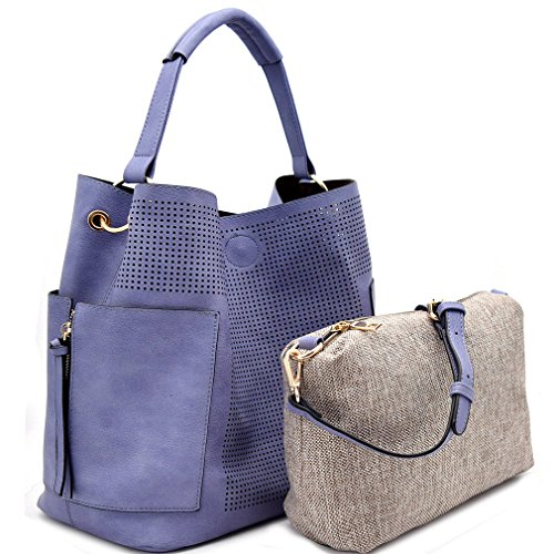 Le Miel Perforated Side Pocket Tote w/Inner Bag Crossbody- Blue