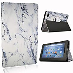 "FINDING CASE Folio Leather Smart Folding Stand Cover Case For Amazon Fire 7"" Alexa, 7 inch Tablet(9th 7th 5th Generation,2019 2017 2015 Release) (Marble)"
