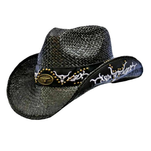 Luxury Divas Black Raffia Cowboy Hat With Black & White Studded Tribal Design Trim