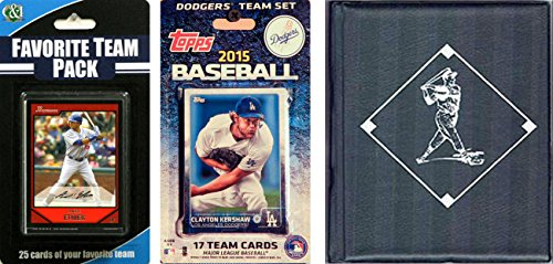 C&I Collectables MLB Los Angeles Dodgers Men's Licensed 2015 Topps Team Set and Favorite Player Trading Cards Plus Storage Album
