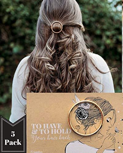 5 Bridesmaid Gifts | Geometric Circle Hair Clip with Card | Proposal Card | Bridesmaid Proposal Box | Bachelorette Favors | Bridal Shower Favors | Boho Minimalist | Bride Tribe (5 Pack, Gold Circle)