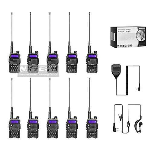 10-Pack NKTECH DM-5RX DMR VHF UHF Dual Band 5W/1W Digital Two Way Radio Walkie Taklie Transceiver 2000mAh Battery With 8.3'' Antenna and 10X NK-S112 Speaker Mic Microphone DM-5R Upgrade by NKTECH