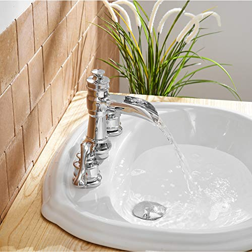 BWE Waterfall 8-16 Inch 3 Holes Two Handle Widespread Bathroom Sink Faucet Chrome by BWE (Image #4)