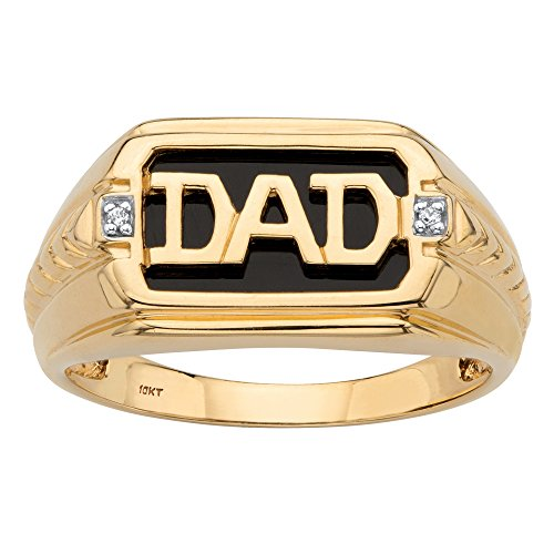 Mens Onyx Dad Ring - Men's Solid 10K Yellow Gold Emerald Cut Genuine Onyx and Diamond Accent Dad Ring Size 8