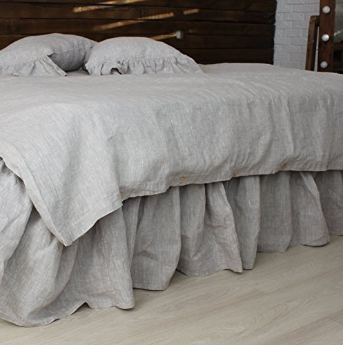 Linen Bed Skirt with Gathered Ruffles and Cotton Decking - Natural Linen Oatmeal, White, Grey, Pink, Blue Colors
