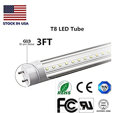 T8 LED Light Tube 3FT 14w(Equivalent 40W Fluorescent Bulb) LED 3000KColor temperature 2000 lumen LED Transparent shell UL DLC plug 2 surface connections 50.000 hours 5 years warranty Energy saving