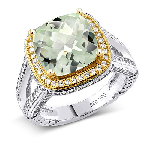 kerboard Green Amethyst 925 Two-Tone Sterling Silver Ring (Ring Size 7) (2 Tone Amethyst Ring)