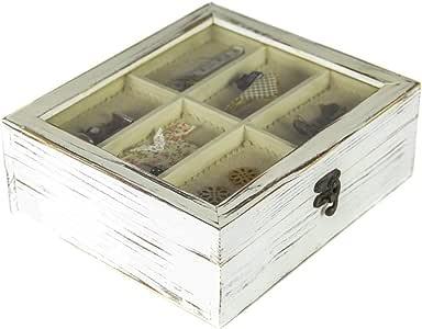 tapidecor Caja Madera Cuadrada con Tapa Cristal COSTURERO 23X20X8 ...