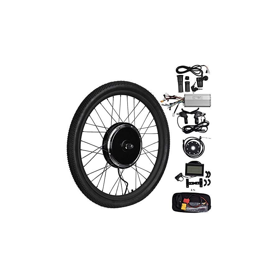 """Uttiny Ebike Conversion Kit, 5 Gears 26"""" 48V 1500W Front Wheel with Brushless Motor Ebike Controller and LCD Screen at The Fastest Speed of 50 65km/hour for Electric Bike Conversion"""