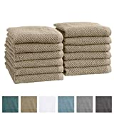 Great Bay Home 12-Pack 100% Cotton, Ultra-Absorbent Popcorn Washcloths. 6 Elegant Solid Colors. Popcorn Weave. Acacia Collection. (Wash 12pk, Plaza Taupe)