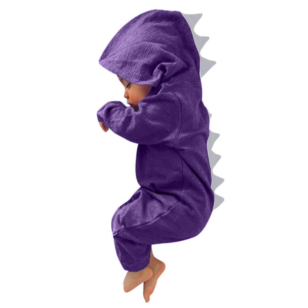 LONGDAY Newborn Baby Boys Girls Long Sleeve Dinosaur Zipper Hooded Romper Jumpsuit Outfits by LONGDAY-Women Tops