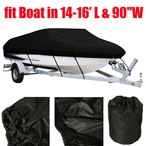 OUTAD 600 Denier Boat Cover fits 14ft 15ft 16ft Center Console V-Hull Boats Runabouts and Bass Boats, Fish - Ski Trailerable Boat | Marine Grade All Weather Outdoor Protection ()
