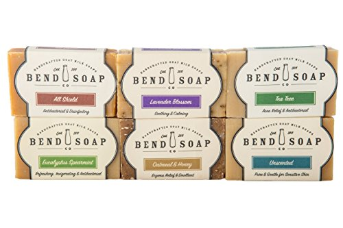 Bend Soap Company All Natural Goat Milk Soap - Paraben and GMO Free - Handmade in USA - Soothe Cracked Skin, Relax and Exfoliate - Overall Dry Skin Relief (Variety Pack, 6 Pack of 4.5oz Bars)…