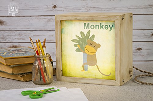 Edison Lightbox | Children | Light Box | Table Lamp | Desk Lamp | LED | Lamp| Nursery | Zoo | Monkey