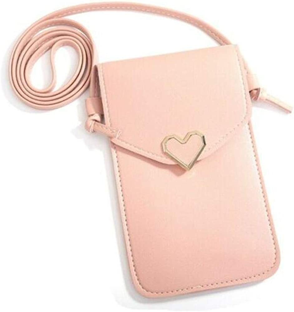 Touchable Screen PU Leather Change Bag,Women Heart Shaped Mobile Phone Bag Wallet Crossbody Mini Shoulder Pouch
