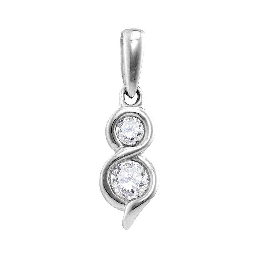 Or blanc 14carats pour femme Diamant rond 2-stone coeurs Ensemble pendentif 5/8ct tw